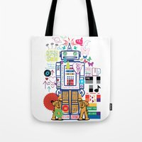 coldplay Tote Bags featuring we live in a beautiful world by Giulia De grazi