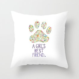 A Girl's Best Friend Floral Watercolor Throw Pillow