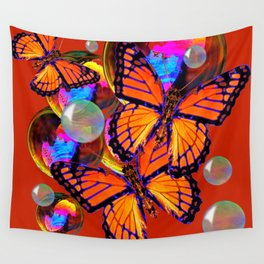DECORATIVE MONARCH BUTTERFLIES & SOAP BUBBLES  ON TURMERIC  COLOR ART Wall Tapestry