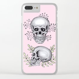 Skull with florals on pink Clear iPhone Case