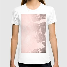 Rose Gold Pastel Pink Paint Brush T-shirt