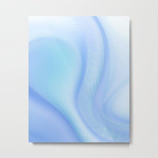 Soft Blue Wave Metal Print