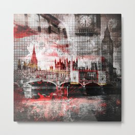 Graphic Art LONDON Red Bus Composing Metal Print
