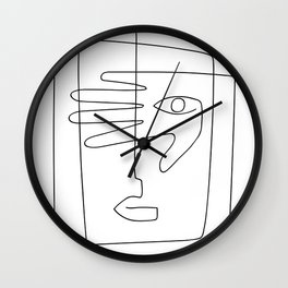 Square Face One Line Art Wall Clock
