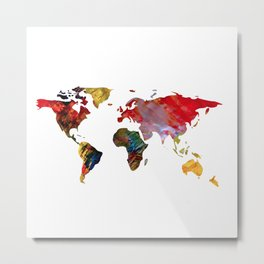 Multicolored World Map Metal Print