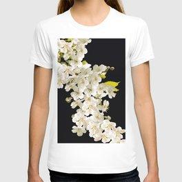 Cherry Flowers On Black Background #decor #society6 #buyart T-shirt