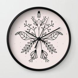 Botanical Modern Mandala Soft Pink Wall Clock