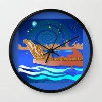 maori Wall Clocks featuring Maori Canoes : Waka by Patricia Howitt