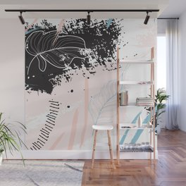 Exotic leaves on grunge background Wall Mural