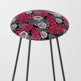 Chevron Floral Black Counter Stool