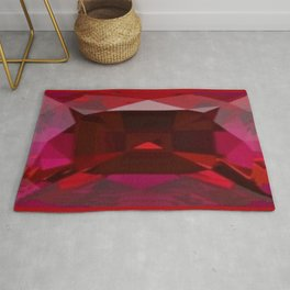 July Babies Red Ruby Birthstone Abstract Design Rug