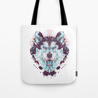 husky Tote Bags featuring husky by yoaz