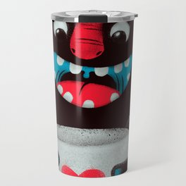 Demon with a cup of coffee (contrast) Travel Mug