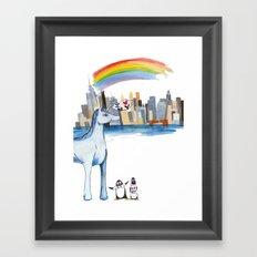 Unicorn Penguin Love NYC Framed Art Print
