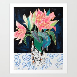 Swan Vase with Pink Lily Flower Bouquet on Dark Blue and Black Winter Floral Art Print
