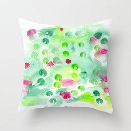 Watercolor Lily Pond Throw Pillow