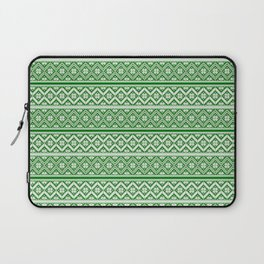 Green and White Classic Nordic Christmas Pattern Laptop Sleeve