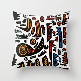 African Inspired Pattern Abstract Art Graffiti  Throw Pillow