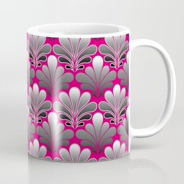 Art Deco Shell Pattern, Silver Gray and Fuchsia Pink Coffee Mug