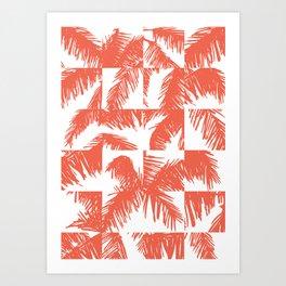 Palm Leaf Pattern Orange Art Print