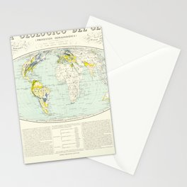 Vintage Map Print - 1880 Spanish Geological Map of the World Stationery Cards
