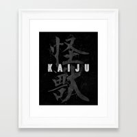 kaiju Framed Art Prints featuring KAIJU by Mikio Murakami