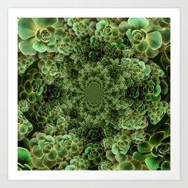 SEA FOAM FROTHY BLUE-GREEN SUCCULENTS Art Print