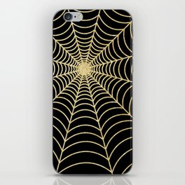 Spiderweb   Gold Glitter iPhone Skin