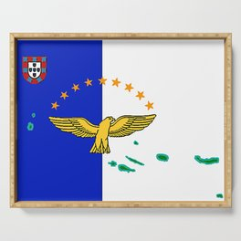 Azores Flag with Map of the Azores Islands Serving Tray