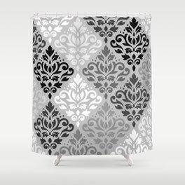 Scroll Damask Ptn Art BW & Grays Shower Curtain