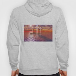 Christian crosses on red sea Hoody