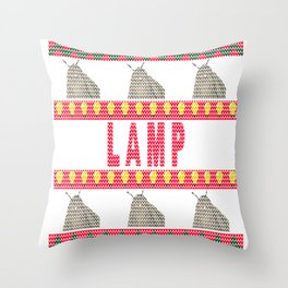 Moth Lamp Meme - Ugly Christmas Sweater Style Throw Pillow