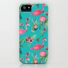 Santa Flamingo Christmas, Holiday Tropical Watercolor iPhone Case