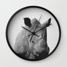 Rhino - Black & White Wall Clock