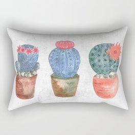 Three Blue Cacti watercolor Rectangular Pillow