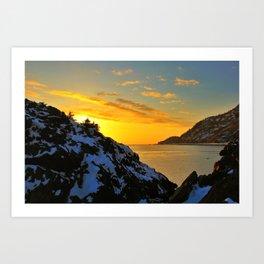 Winter Sunset at Beluga Point - ALASKA  Art Print