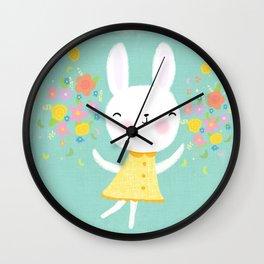 Dancing Garden Bunny Wall Clock