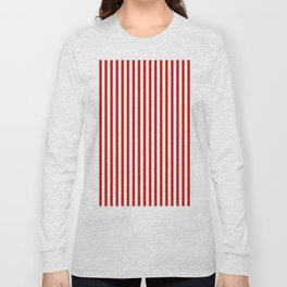 Red & White Maritime Vertical Small Stripes - Mix & Match with Simplicity of Life Long Sleeve T-shirt