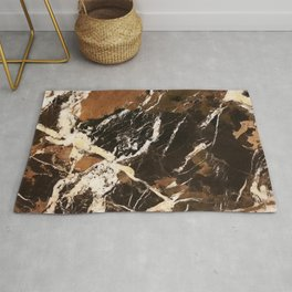 Sienna Brown and Black Marble With Creamy Veins Rug