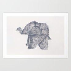 Origami Elephant Art Print