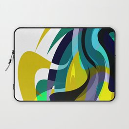 Orb, Abstract geometric Print in Blues Chartreuse & yellows Laptop Sleeve