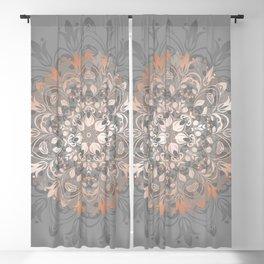 Rose Gold Gray Floral Mandala Blackout Curtain