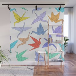 Japanese Origami paper cranes symbol of happiness, luck and longevity Wall Mural