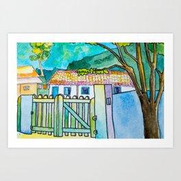 Green gate and the neighbors Art Print