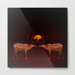 Reindeers With Moon On A Dark Purple Background #decor#buyart #society6 Metal Print