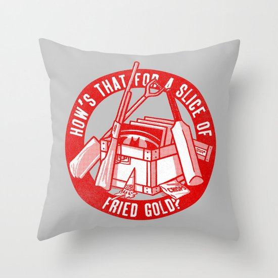 Fried Gold (red on you variant) Throw Pillow