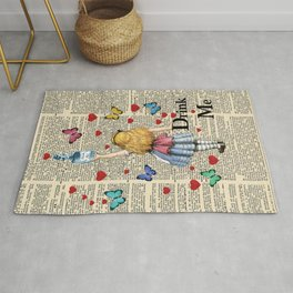 Drink Me - Vintage Dictionary Page - Alice In Wonderland Rug