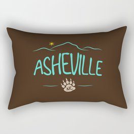 Asheville, NC - Black Bear Paw - AVL 14 Chocolate Brown Rectangular Pillow