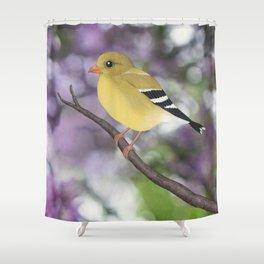 American goldfinch female bokeh Shower Curtain