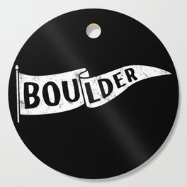 Boulder Colorado Pennant Flag B&W // University College Dorm Room Graphic Design Decor Black & White Cutting Board